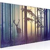 Bilder Wald Hirsch Wandbild 200 x 80 cm Vlies - Leinwand Bild XXL Format Wandbilder Wohnzimmer...