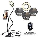 Selfie Ring Licht K&F Concept LED Ringlicht mit Handyhalterung [3 Lichtmodi] [10-stufige Helligkeit]...