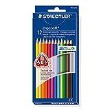 Staedtler Buntstifte ergo soft, erhöhte Bruchfestigkeit, dreikant, Set mit 12 brillanten Farben,...