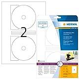 Herma 5115 CD DVD Etiketten blickdicht (Ø 116 mm, Innenloch klein) weiß, 50 Aufkleber, 25 Blatt...