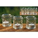 Windlichter, Teelichthalter Country 3er-Set aus Glas zum Aufhängen, Ø ca. 6 cm