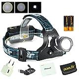 BORUiT LED USB Stirnlampe Kopflampe XP-G2 R5 Superhell Wiederaufladbar Wasserdicht 3000LM...