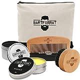 Bartpflege Set 'GLATTMACHER' von BARTFORMAT (4-Teilig) - Runde Bartbürste (Wildschweinborsten) +...
