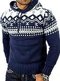 Reslad Herren Grobstrick Pullover Norweger Winter Kapuzenpullover RS-3013 Blau XL