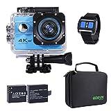 Action Cam 4K WIFI 1080P 60FPS, 20 MP Unterwasserkamera, 2.4G Fernbedienung und 2 1350mAh Akkus...