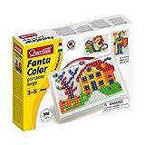 Quercetti 0954 - Mosaik-Steckspiel Fanta Color Portable Small, 300 Stecker in 2 Formen (Dreieck und...