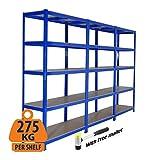 Hochleistungs-Stahlgaragen-Regale für die Garage, Regalsystem, 275 kg pro Regal, 5 Stufen, 1800 mm...