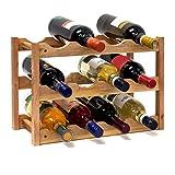Relaxdays 10019279 Weinregal klein 28 x 42,5 x 21 cm Holz Flaschenregal mit 3 Ebenen für 12...