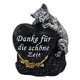 Grabstein Katze Tiergrabstein mit Spruch Polyresin Gedenkstein Grabdeko schwarz