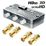 erenLine Universal Umschalter-Verteiler mit 4 Koax-Adaptern; für SAT, Kabel TV, DVB T2 HD und UKW;...
