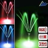 SOLARTEICHPUMPE SOLAR SPRINGBRUNNEN SOLARPUMPE GARTENBRUNNEN OSLO 300 (Rot, grün, blau) Licht +...