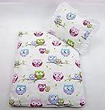 Rawstyle 4 tlg. Set Bezug (Eulen Rosa) für Kinderwagen Garnitur Bettwäsche Decke + Kissen +...