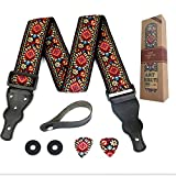 Gitarrengurt rot Vintage gewebt mit gratis Bonus 2 Gitarrenplektren + Schnallen + Gürtelknopf. für...
