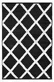 Green Decore Outdoor-Teppich, wendbar, leicht, Kunststoff, 120x 180 cm, Scharz / Weiß