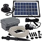 Agora-Tec® AT-Solar Bachlaufpumpen - Set 3.5W-BLH mit Akku und 3- fach LED Ring inklusive 5 Meter...
