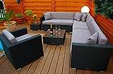 PolyRattan Lounge DEUTSCHE MARKE -- EIGNENE PRODUKTION -- 7 Jahre GARANTIE Garten Möbel incl. Glas...