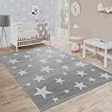 Moderner Kurzflor Kinderteppich Sternendesign Kinderzimmer Star Muster Grau Weiß, Grösse:120x170...