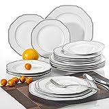 Porzellan Geschirrservice, 18-teilig Teller Set, Flachteller, Dessertteller, Speiseteller,...