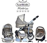 Chilly Kids Matrix II Kinderwagen Komplettset (Autositz & Adapter, Regenschutz, Moskitonetz,...