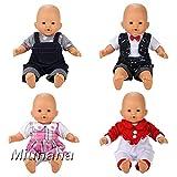Miunana 4 Sets Kleidung Strampler Schlafanzug Kleid Puppenkleidung für 36cm Babypuppe Puppen Ohne...