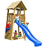 Blue Rabbit 2.0 Spielturm BELVEDERE mit Rutsche Kletterturm mit Kletterwand Glocke Sandkasten...