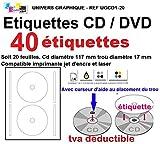 40 Etiketten selbstklebend standard cd/dvd, selbstklebend, Durchmesser 117 mm mit 17 mm Lochung, mit...