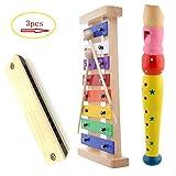 Hölzernes-Xylophon für Kinder. Kindermusikinstrument mit 2 kindersicheren Holzschlägeln, 1 Flöte...