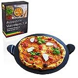 Esprevo Pizzastein rund Ø 33cm aus glasiertem Cordierit | für Backofen, Grill & Gasgrill + gratis...