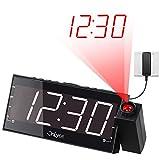 OnLyee 7 'Digital LED Projektionswecker mit FM Radio, Dimmer, USB Ladeanschluss, Batterie Sicherung