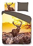 Good Morning Bettwäsche 2030 Deer In Sun Multi 100% Baumwolle Hirsch , Größe:135x200 cm + 80x80...