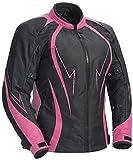 Juicy Trendz Damen Motorradjacke Frauen Wasserdicht Cordura Textil Motorrad Jacke Pink X-Large...