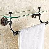 WW Handtuchhalter im europäischen Stil Kupfer Badezimmer Glas Regale Single-Layer-Kosmetik Spiegel...