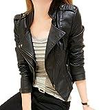 Damen Lederjacke Kunstlederjacke Bikerjacke Einfarbig Damenjacke Jacke kurz L Schwarz