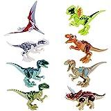 JZK 8 x Klein Kindersicher Spielzeug Jurassic Welt Dinosaurier Blöcke Set, Kopf, Mund, Hände,...