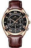 Herren Uhren Lederband Männer Chronograph Sport Wasserdicht Datum Kalender Luxus Mode Römische...