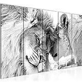 Bilder Löwen Liebe Wandbild 200 x 80 cm Vlies - Leinwand Bild XXL Format Wandbilder Wohnzimmer...