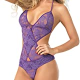Sansee Damen Dessous Set Frauen Sexy Lace Unterwäsche Teddy Features Tiefer Wimpern und Snaps...