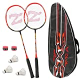 Philonext Badmintonschläger Set mit 3 Federbällen & Tragetasche & 2 Overgrip, Carbon Profi...