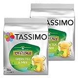 Tassimo Twinings Grüner Tee mit Minze, natürliches Minze-Aroma, Kapsel, 2er Pack, 2 x 16 T-Discs