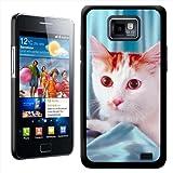 Fancy A Snuggle Hartschale für Samsung S2 i9100 (aufsteckbar, Motiv Katze auf blauer Seidendecke)
