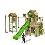 FATMOOSE Kletterturm CrazyCat Comfort XXL Spielturm Baumhaus mit Turmanbau Schaukel und Rutsche
