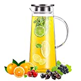 SMAGREHO Kühlkaraffe Glaskaraffe 1.5 Liter Deckel mit Filter aus Edelstahl