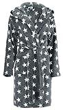 Brandsseller Damen Bademantel mit Sternen - Größe: L/XL - Farbe: Anthrazit/Weiß