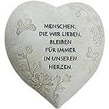 COM-FOUR® Deko Herz 'Menschen, die wir lieben', in Steinoptik, als Grabschmuck, ca. 15 x 15 x 9 cm...