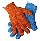 2 Paar (4 Stk) Peeling-Handschuhe, 2 Größen | Dusch-Handschuhe | Massage-Handschuhe orange blau...