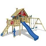 WICKEY Stelzenhaus Smart Resort Spielturm Kletterturm mit Schaukel Holzdach Kletterleiter Spielhaus,...