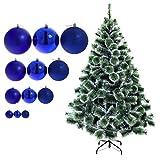 150 cm künstlicher Weihnachtsbaum mit Schnee-Effekt in grün mit 33 blauen Christbaumkugeln...