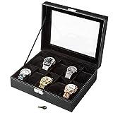 TecTake Uhrenbox Uhrenkasten Kunstleder - diverse Farben - (Schwarz 10 Uhren   Nr. 401537)