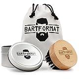 BARTFORMAT Bartbürste mit 100% Wildschweinborsten aus Buchenholz mit praktischer Griffmulde - inkl....