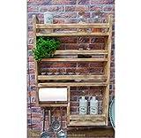 Gewürzregal aus Holz mit Halterung für Küchenrolle - hergestellt aus recyceltem Altholz -...